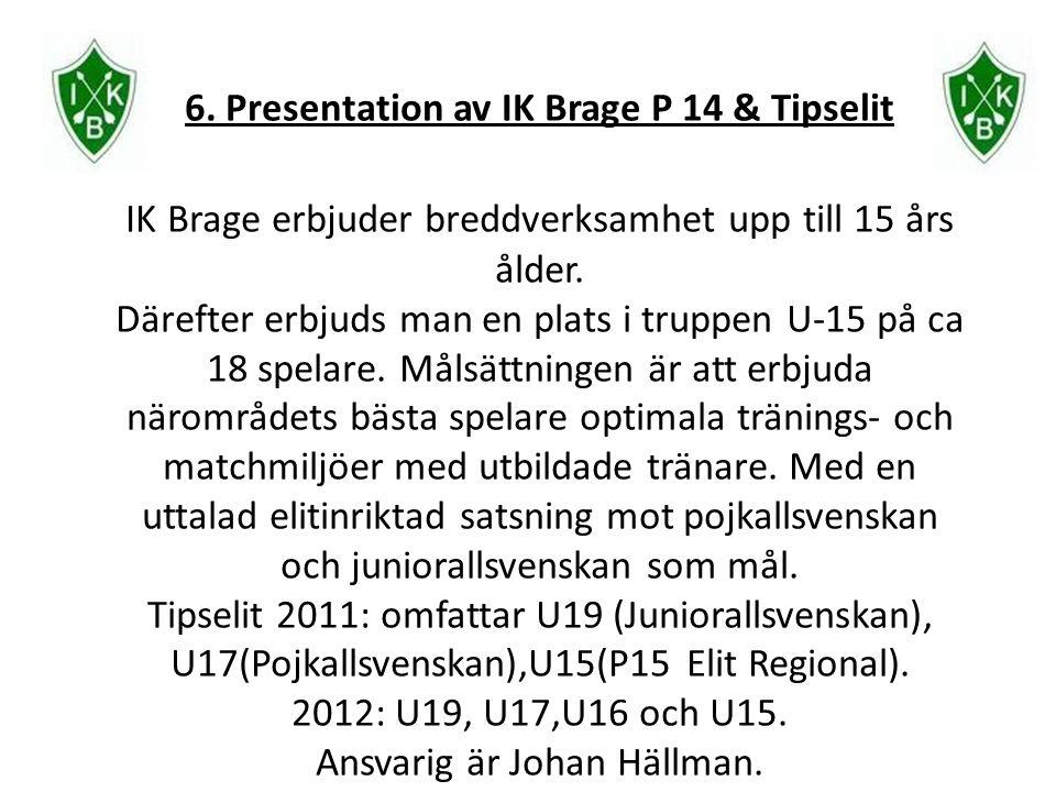 6. Presentation av IK Brage P 14 & Tipselit IK Brage erbjuder breddverksamhet upp till 15 års ålder. Därefter erbjuds man en plats i truppen U-15 på c