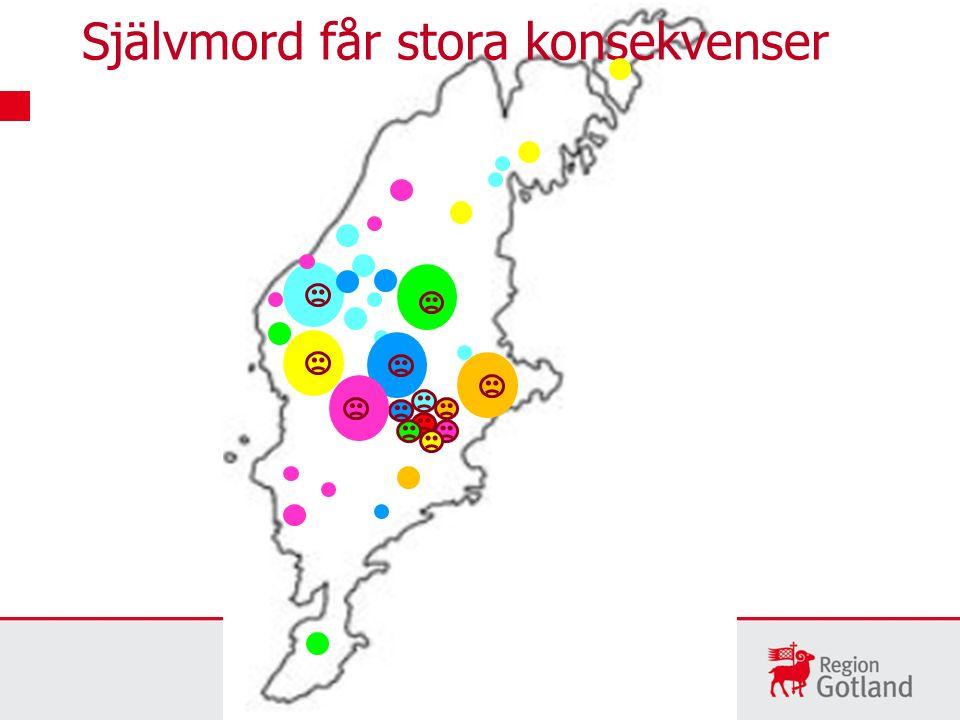 Slutenvård efter självmordsförsök och andra självskador, på Gotland Cirka 50 per år vårdas på sjukhus, ökning senaste åren Flest i åldern 20-39 år men även fler 0-19 år och 40-59 år Fler kvinnor än män Fler män på Gotland jämfört med riket