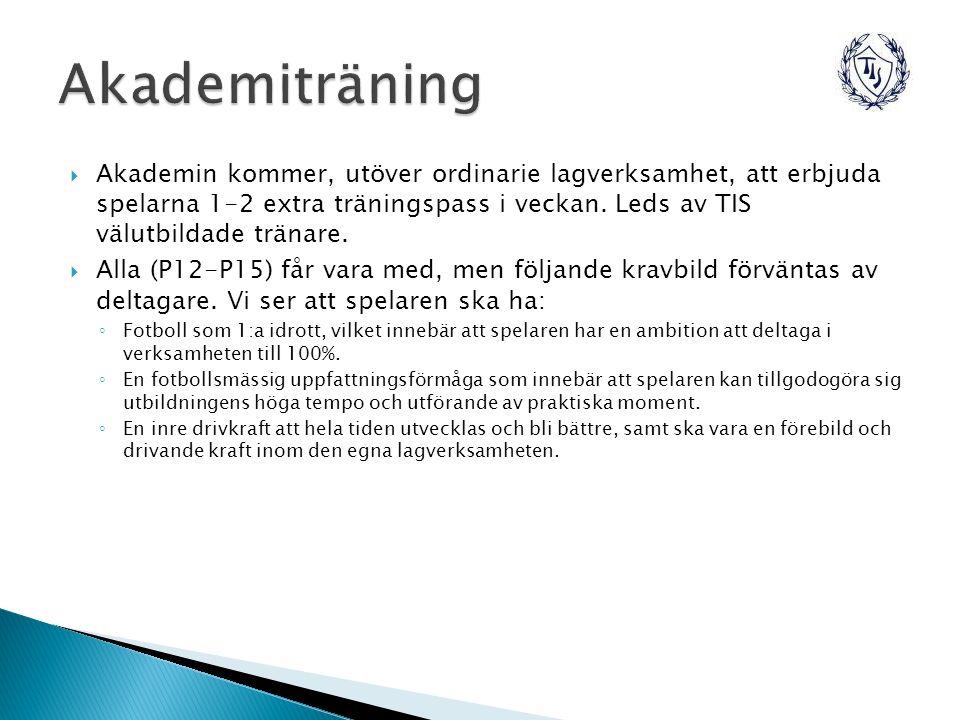  Akademin kommer, utöver ordinarie lagverksamhet, att erbjuda spelarna 1-2 extra träningspass i veckan.