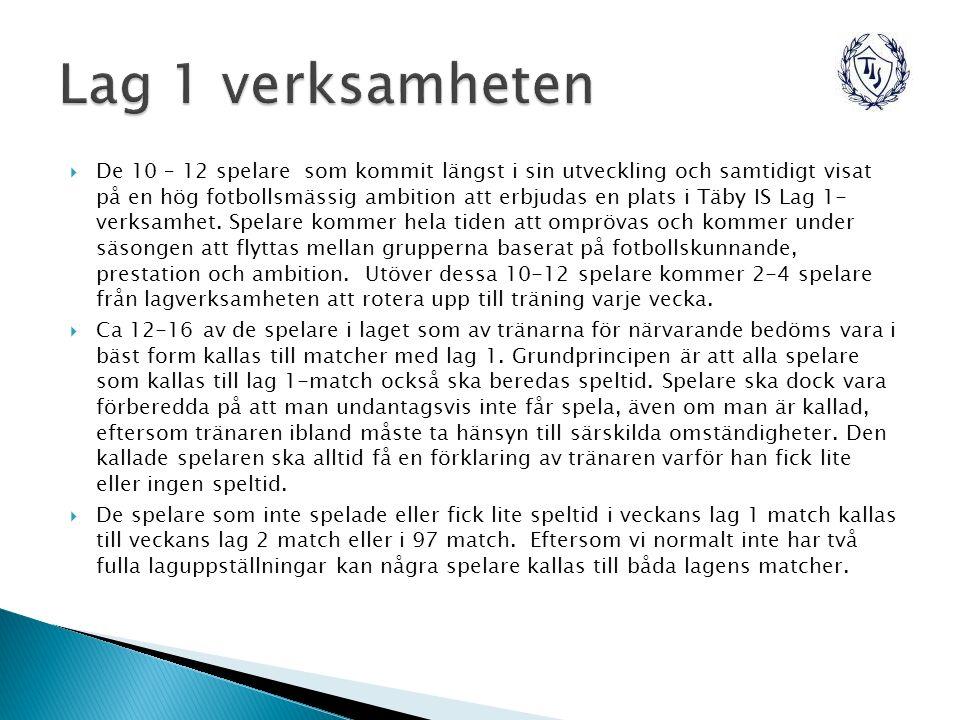  De 10 – 12 spelare som kommit längst i sin utveckling och samtidigt visat på en hög fotbollsmässig ambition att erbjudas en plats i Täby IS Lag 1- verksamhet.