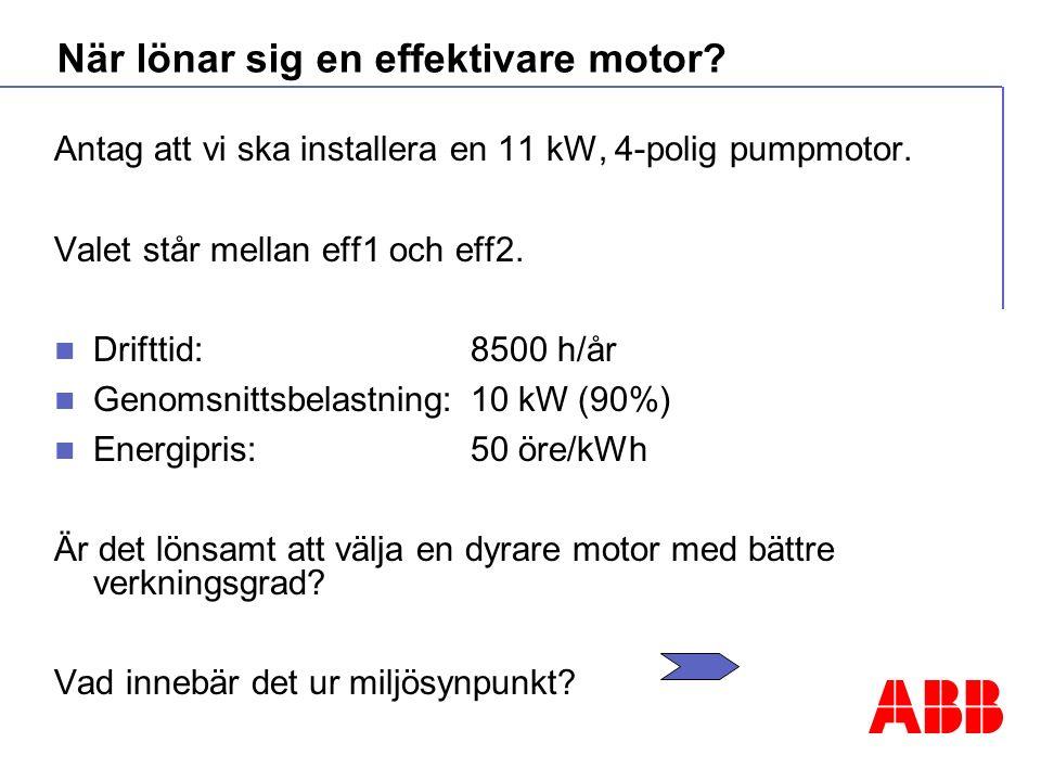 När lönar sig en effektivare motor. Antag att vi ska installera en 11 kW, 4-polig pumpmotor.