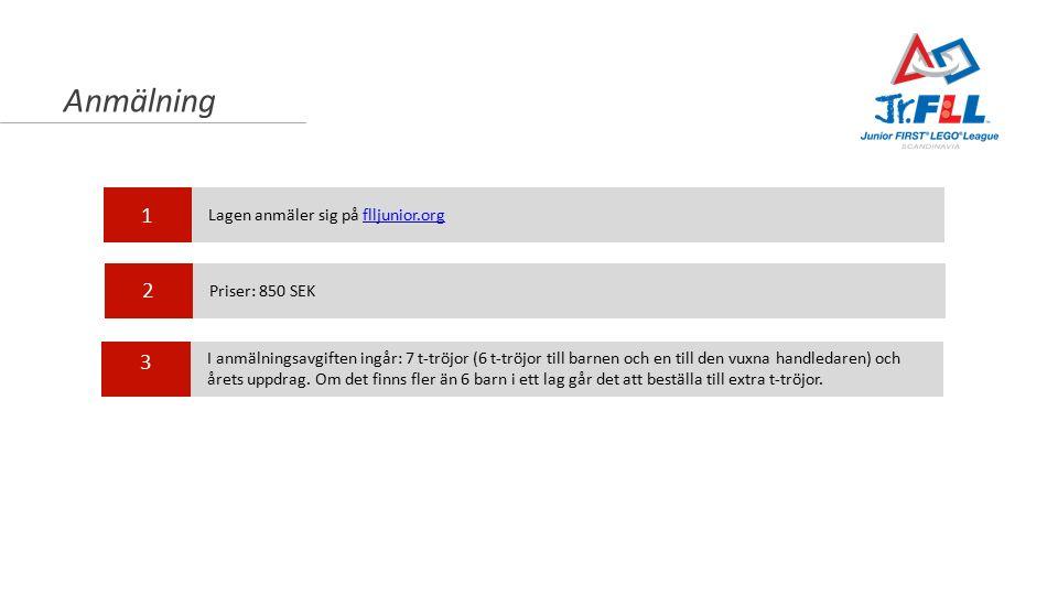 Anmälning 1 2 3 Lagen anmäler sig på flljunior.orgflljunior.org Priser: 850 SEK I anmälningsavgiften ingår: 7 t-tröjor (6 t-tröjor till barnen och en till den vuxna handledaren) och årets uppdrag.