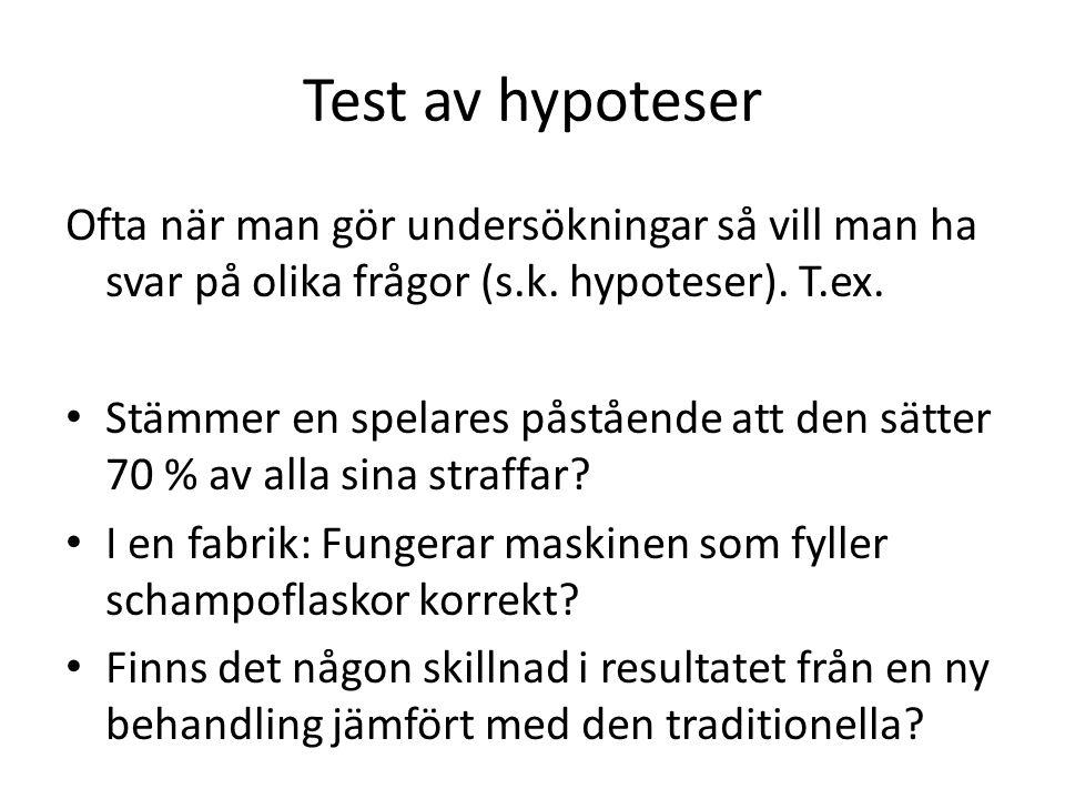 Test av hypoteser Ofta när man gör undersökningar så vill man ha svar på olika frågor (s.k.