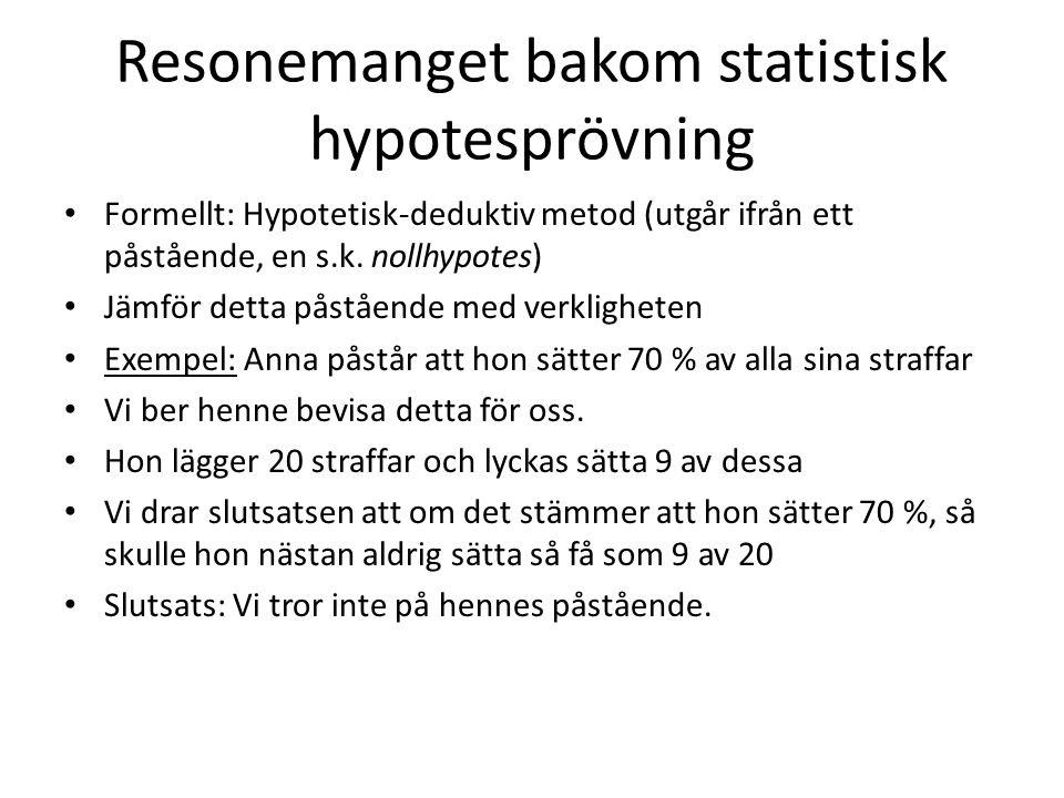 Resonemanget bakom statistisk hypotesprövning Formellt: Hypotetisk-deduktiv metod (utgår ifrån ett påstående, en s.k.