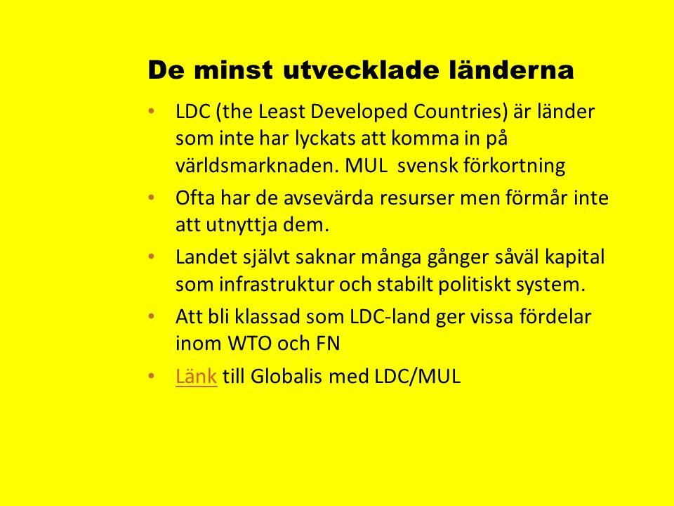 De minst utvecklade länderna LDC (the Least Developed Countries) är länder som inte har lyckats att komma in på världsmarknaden.