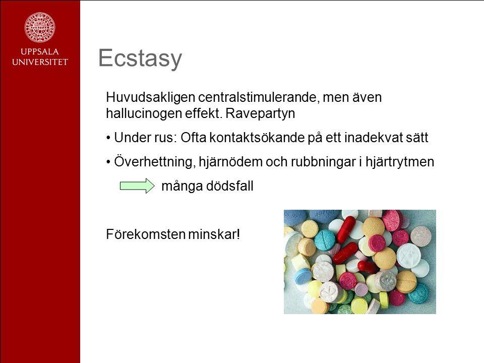 Ecstasy Huvudsakligen centralstimulerande, men även hallucinogen effekt.