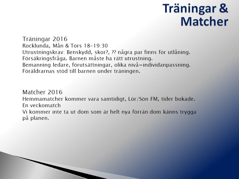 Träningar 2016 Rocklunda, Mån & Tors 18-19:30 Utrustningskrav: Benskydd, skor , .