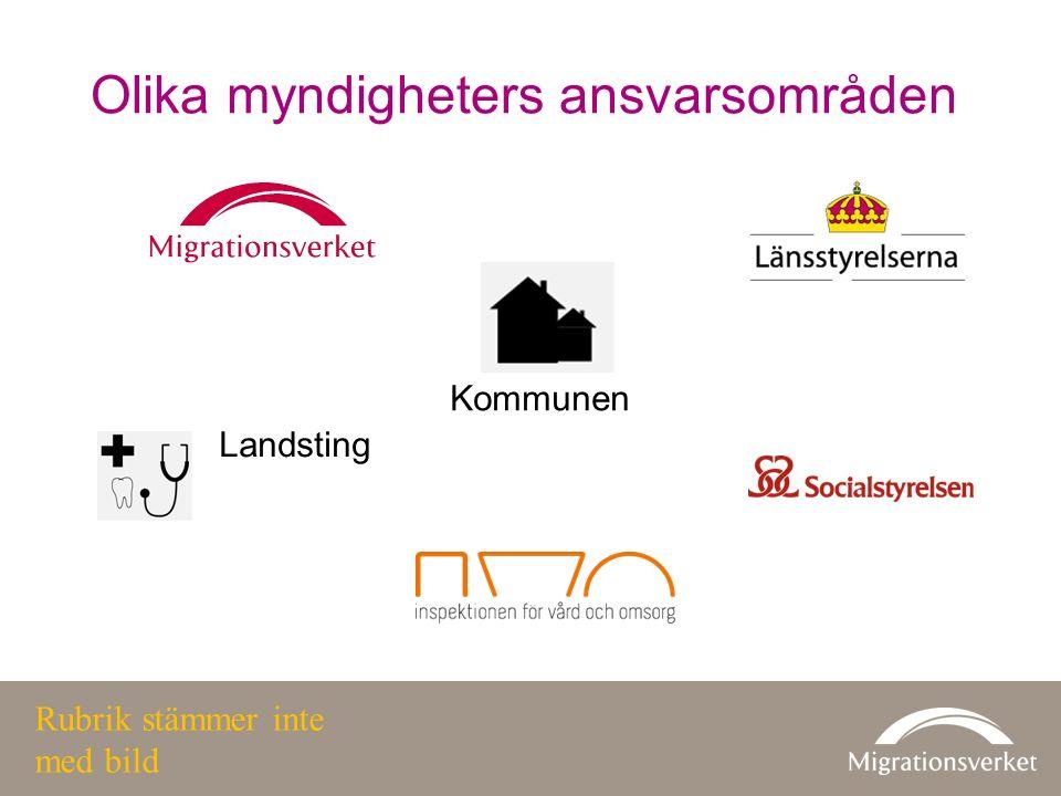Olika myndigheters ansvarsområden Landsting Kommunen Rubrik stämmer inte med bild