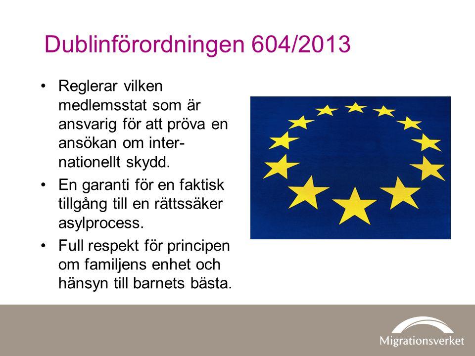 Dublinförordningen 604/2013 Reglerar vilken medlemsstat som är ansvarig för att pröva en ansökan om inter- nationellt skydd.
