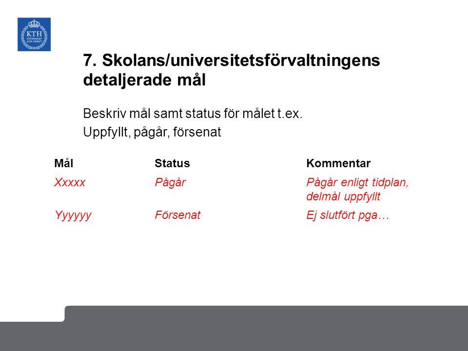 7. Skolans/universitetsförvaltningens detaljerade mål Beskriv mål samt status för målet t.ex.