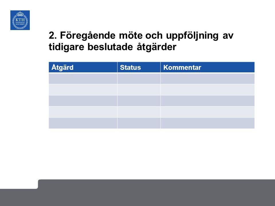 2. Föregående möte och uppföljning av tidigare beslutade åtgärder ÅtgärdStatusKommentar