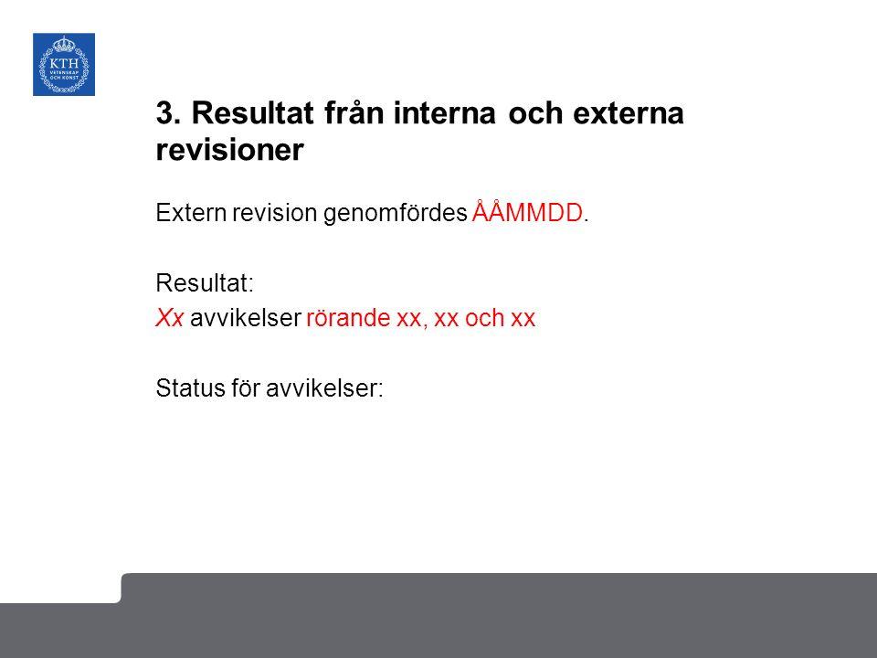 3. Resultat från interna och externa revisioner Extern revision genomfördes ÅÅMMDD. Resultat: Xx avvikelser rörande xx, xx och xx Status för avvikelse