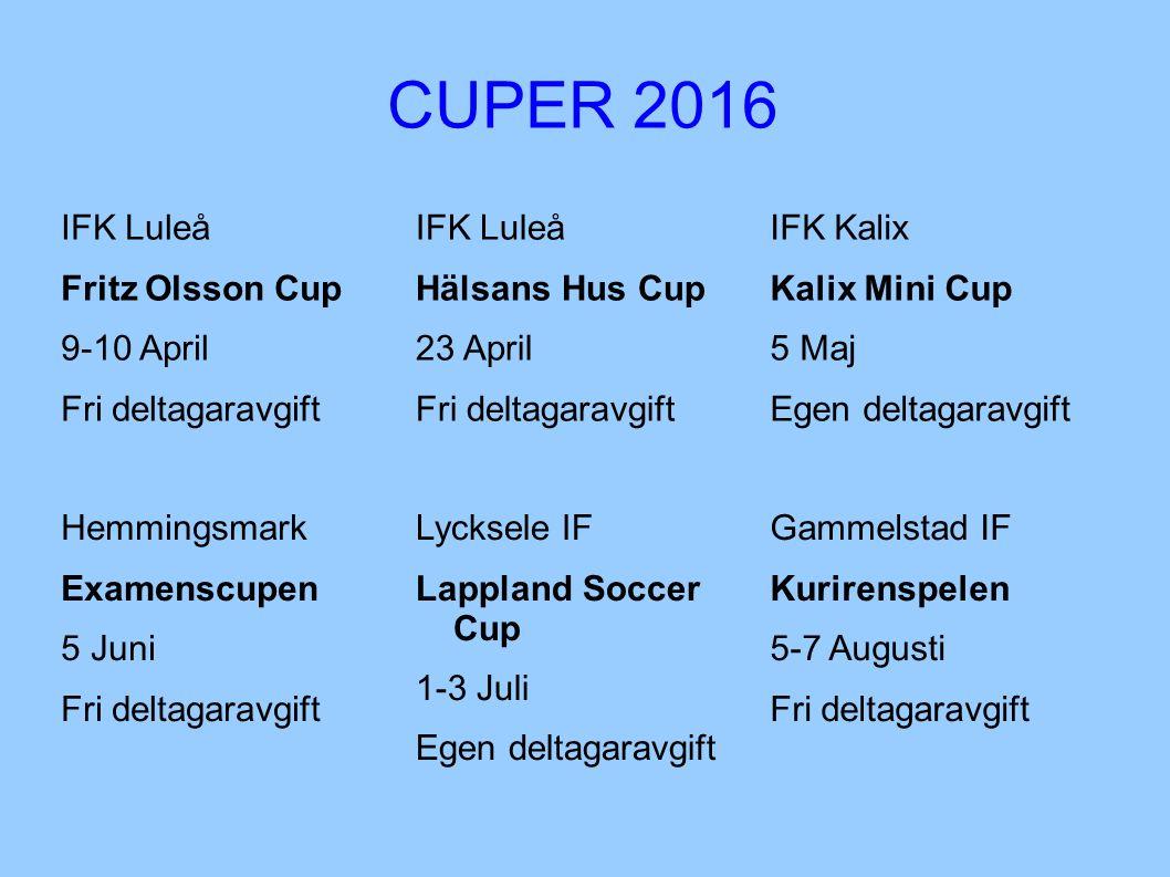 CUPER 2016 IFK Luleå Fritz Olsson Cup 9-10 April Fri deltagaravgift IFK Luleå Hälsans Hus Cup 23 April Fri deltagaravgift IFK Kalix Kalix Mini Cup 5 M