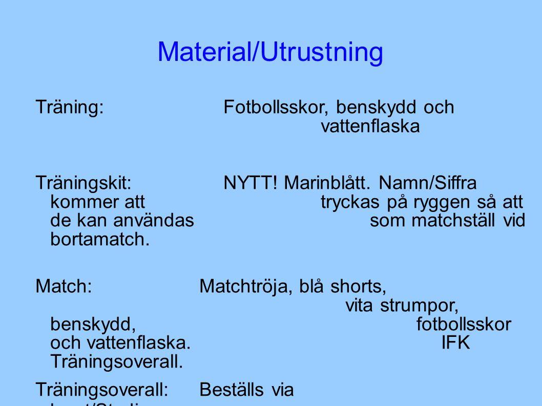 Material/Utrustning Träning:Fotbollsskor, benskydd och vattenflaska Träningskit:NYTT.