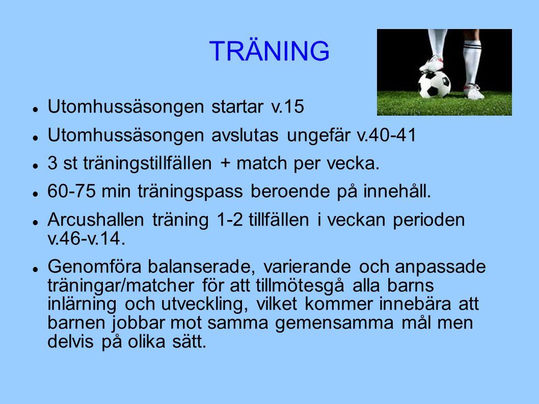 TRÄNING Utomhussäsongen startar v.15 Utomhussäsongen avslutas ungefär v.40-41 3 st träningstillfällen + match per vecka.