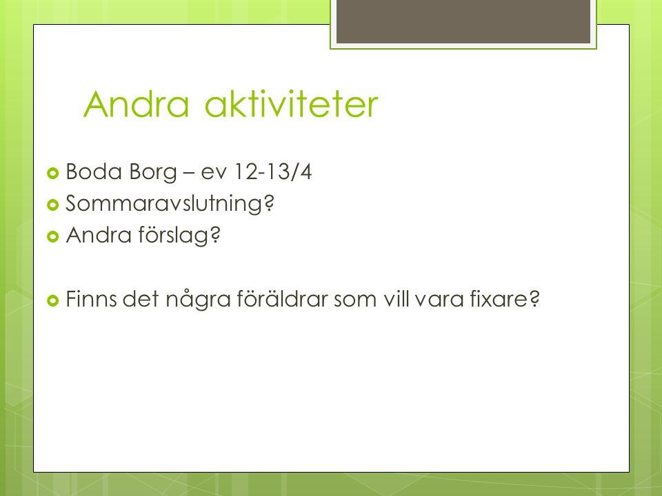 Andra aktiviteter  Boda Borg – ev 12-13/4  Sommaravslutning?  Andra förslag?  Finns det några föräldrar som vill vara fixare?