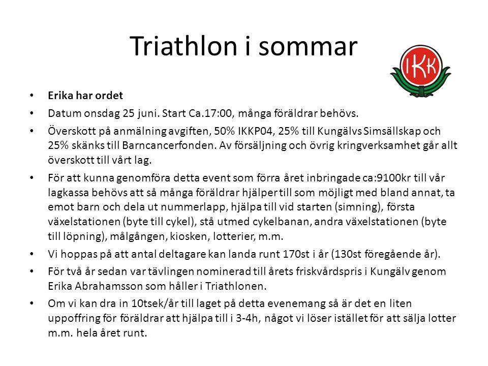Triathlon i sommar Erika har ordet Datum onsdag 25 juni. Start Ca.17:00, många föräldrar behövs. Överskott på anmälning avgiften, 50% IKKP04, 25% till