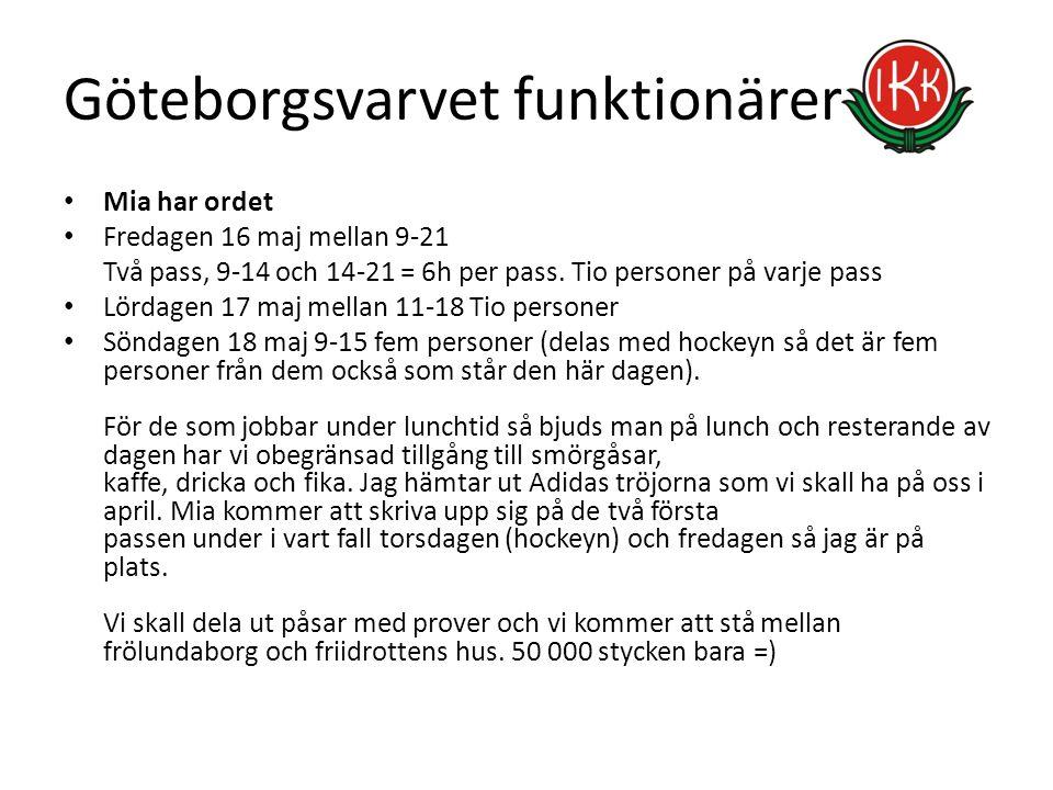Göteborgsvarvet funktionärer Mia har ordet Fredagen 16 maj mellan 9-21 Två pass, 9-14 och 14-21 = 6h per pass. Tio personer på varje pass Lördagen 17