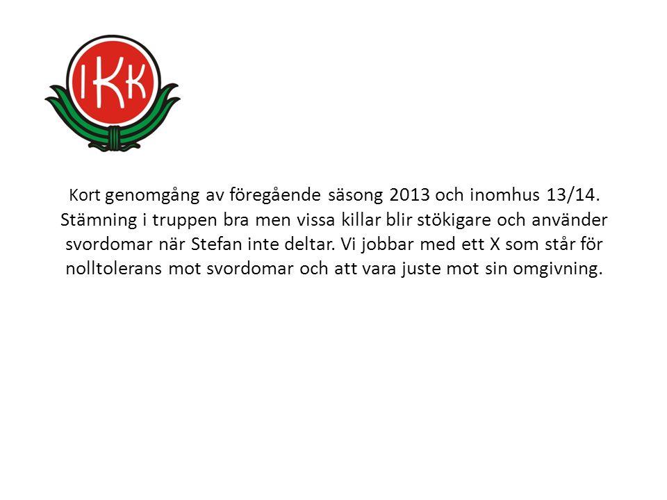 Kort genomgång av föregående säsong 2013 och inomhus 13/14.