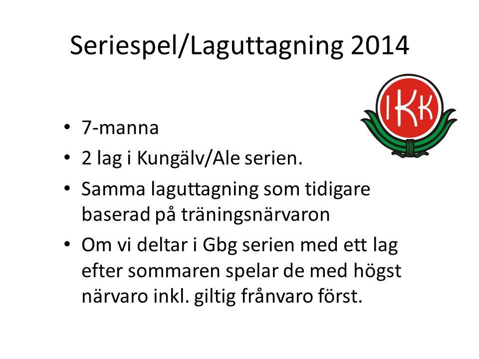 Seriespel/Laguttagning 2014 7-manna 2 lag i Kungälv/Ale serien. Samma laguttagning som tidigare baserad på träningsnärvaron Om vi deltar i Gbg serien