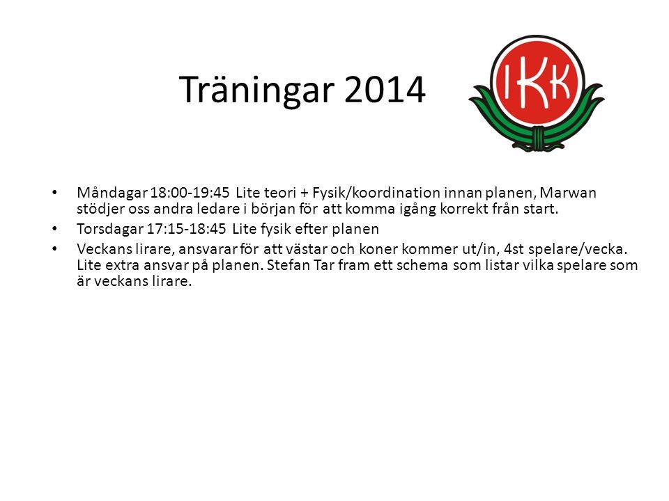 Träningar 2014 Måndagar 18:00-19:45 Lite teori + Fysik/koordination innan planen, Marwan stödjer oss andra ledare i början för att komma igång korrekt