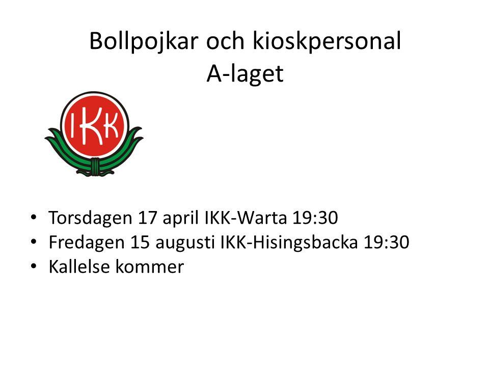 Bollpojkar och kioskpersonal A-laget Torsdagen 17 april IKK-Warta 19:30 Fredagen 15 augusti IKK-Hisingsbacka 19:30 Kallelse kommer