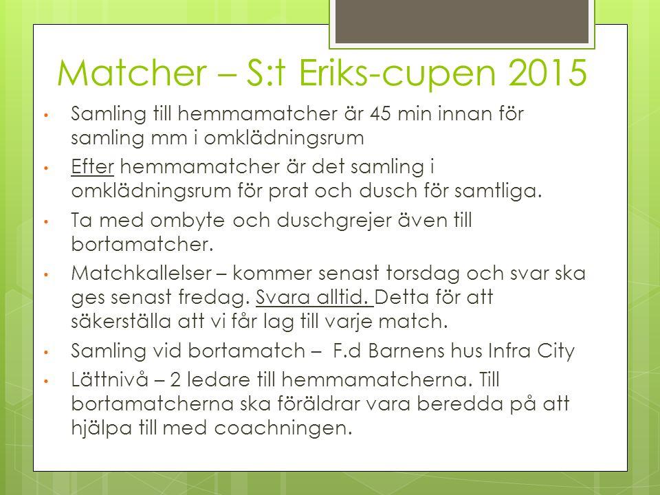 Matcher – S:t Eriks-cupen 2015 Samling till hemmamatcher är 45 min innan för samling mm i omklädningsrum Efter hemmamatcher är det samling i omklädnin