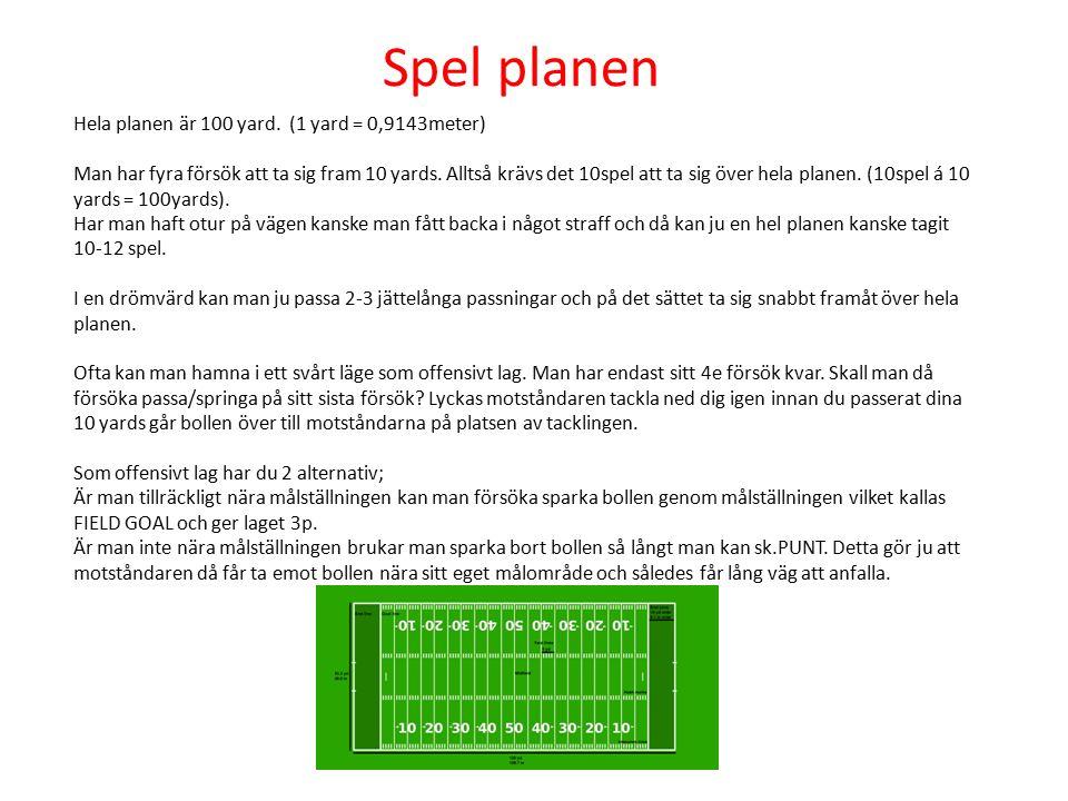 Spel planen Hela planen är 100 yard. (1 yard = 0,9143meter) Man har fyra försök att ta sig fram 10 yards. Alltså krävs det 10spel att ta sig över hela