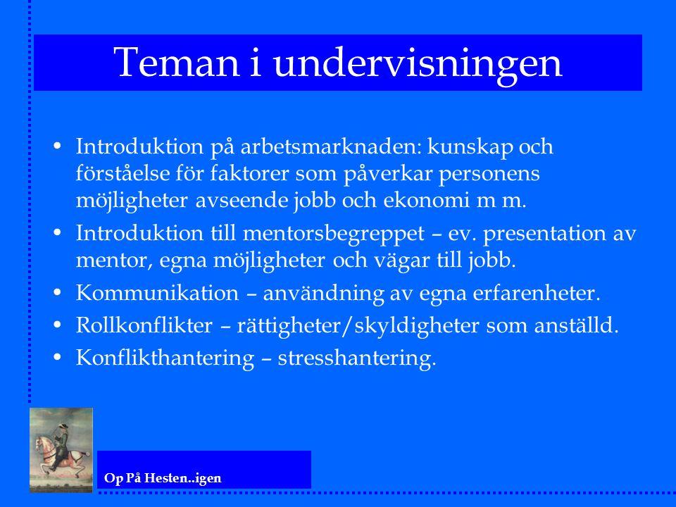 Op På Hesten..igen Teman i undervisningen Introduktion på arbetsmarknaden: kunskap och förståelse för faktorer som påverkar personens möjligheter avseende jobb och ekonomi m m.