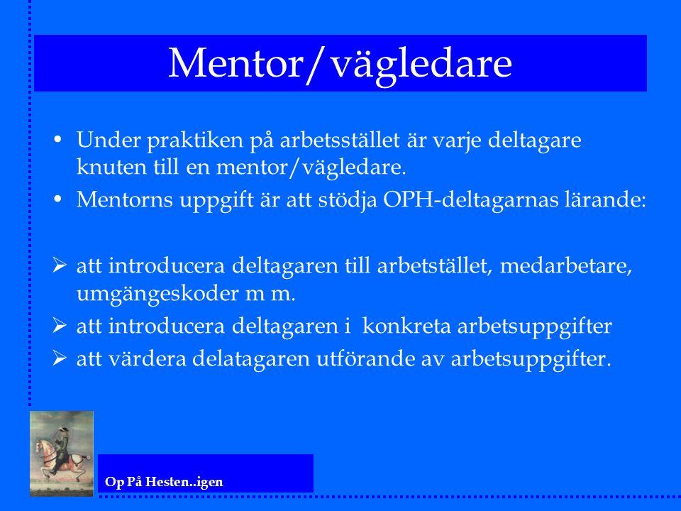 Op På Hesten..igen Mentor/vägledare Under praktiken på arbetsstället är varje deltagare knuten till en mentor/vägledare. Mentorns uppgift är att stödj