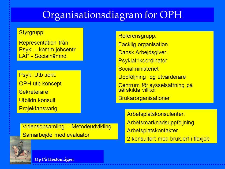 Op På Hesten..igen Organisationsdiagram for OPH Styrgrupp: Representation från Psyk. – komm.jobcentr LAP - Socialnämnd. Referensgrupp: Facklig organis