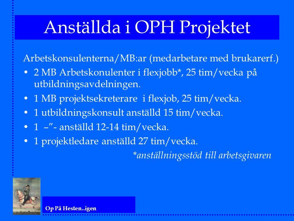 Op På Hesten..igen Anställda i OPH Projektet Arbetskonsulenterna/MB:ar (medarbetare med brukarerf.) 2 MB Arbetskonulenter i flexjobb*, 25 tim/vecka på utbildningsavdelningen.