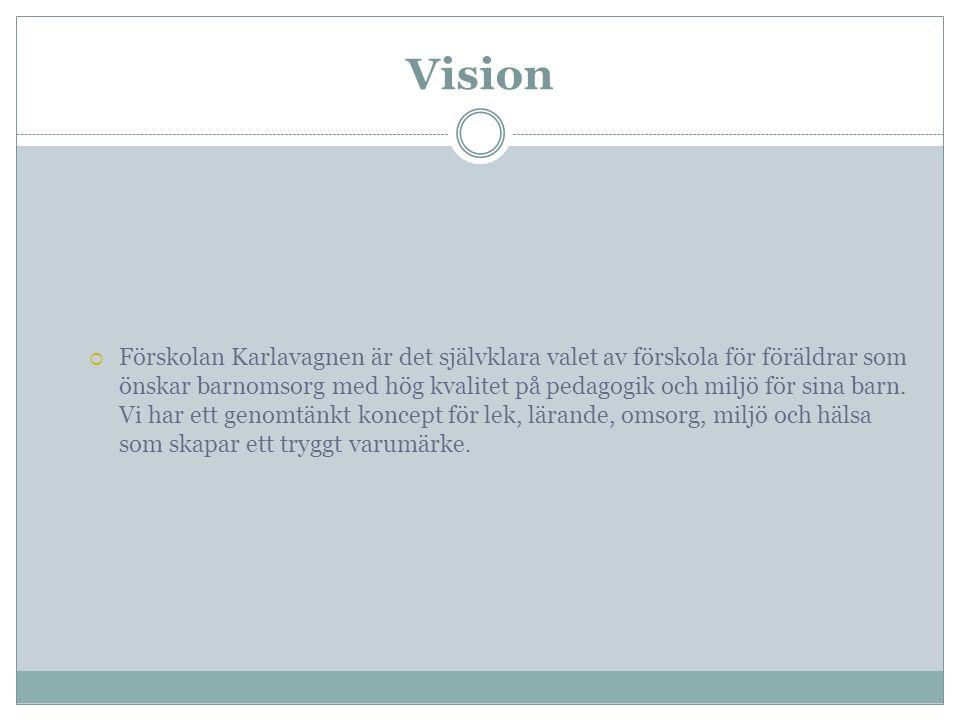Vision  Förskolan Karlavagnen är det självklara valet av förskola för föräldrar som önskar barnomsorg med hög kvalitet på pedagogik och miljö för sin