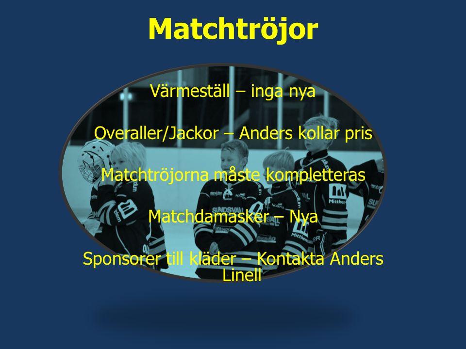 Matchtröjor Värmeställ – inga nya Overaller/Jackor – Anders kollar pris Matchtröjorna måste kompletteras Matchdamasker – Nya Sponsorer till kläder – Kontakta Anders Linell