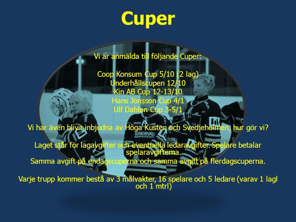 Cuper Vi är anmälda till följande Cuper: Coop Konsum Cup 5/10 (2 lag) Underhållscupen 12/10 Kin AB Cup 12-13/10 Hans Jonsson Cup 4/1 Ulf Dahlen Cup 3-5/1 Vi har även blivit inbjudna av Höga Kusten och Svedjeholmen, hur gör vi.