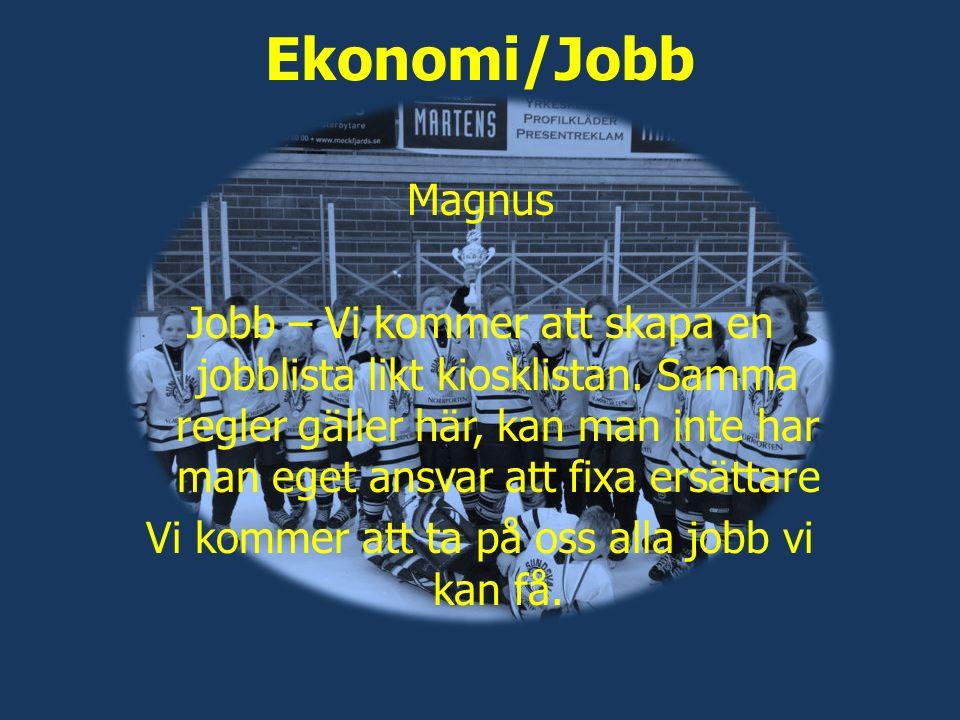 Ekonomi/Jobb Magnus Jobb – Vi kommer att skapa en jobblista likt kiosklistan. Samma regler gäller här, kan man inte har man eget ansvar att fixa ersät