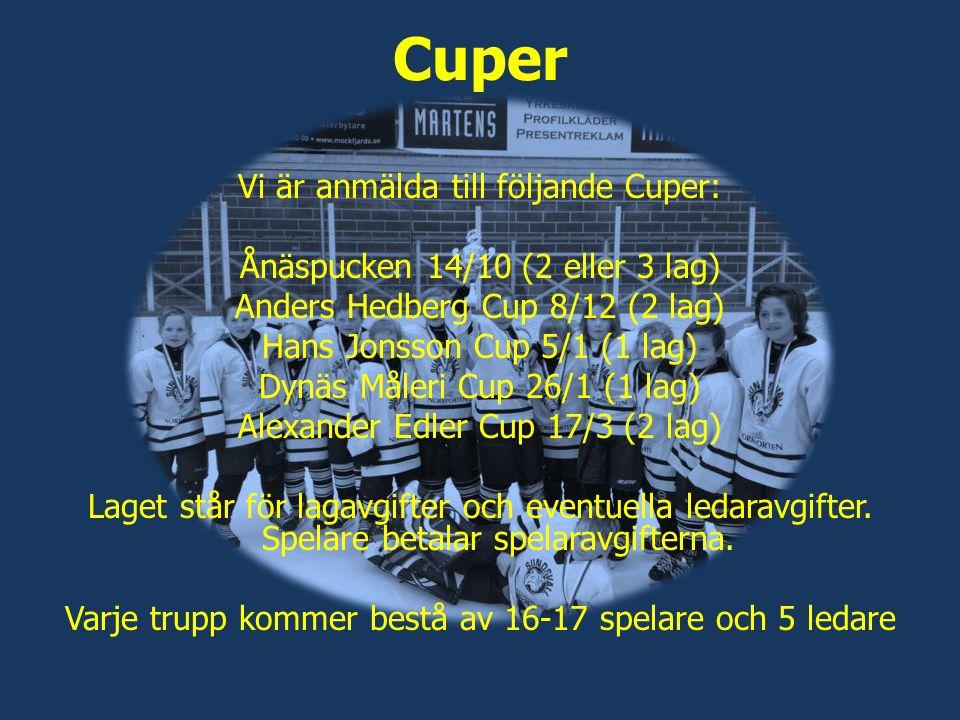 Cuper Vi är anmälda till följande Cuper: Ånäspucken 14/10 (2 eller 3 lag) Anders Hedberg Cup 8/12 (2 lag) Hans Jonsson Cup 5/1 (1 lag) Dynäs Måleri Cup 26/1 (1 lag) Alexander Edler Cup 17/3 (2 lag) Laget står för lagavgifter och eventuella ledaravgifter.