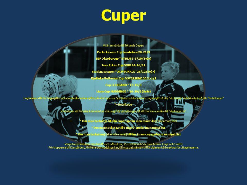 Cuper Vi är anmälda till följande Cuper: Puck i kassen Cup Sandviken 20-21/9 DIF Oktobercup * STHLM 3-5/10 (Svår) Tore Erkén Cup ÖVIK 14-16/11 Stadsnä