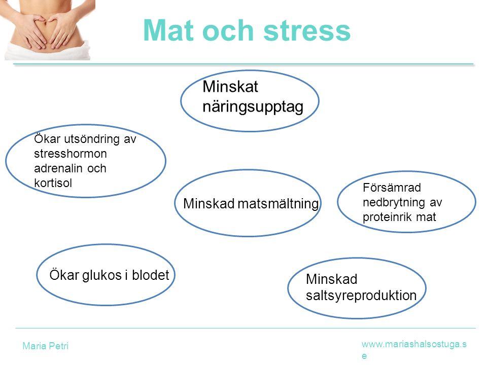 Ökar utsöndring av stresshormon adrenalin och kortisol Mat och stress Ökar glukos i blodet Minskat näringsupptag Minskad matsmältning Försämrad nedbry