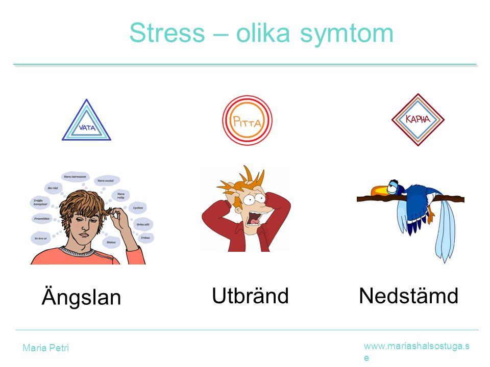 Ängslan Stress – olika symtom UtbrändNedstämd www.mariashalsostuga.s e Maria Petri