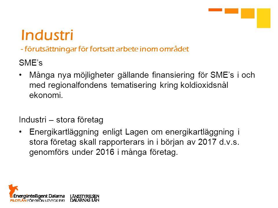 Industri - förutsättningar för fortsatt arbete inom området SME's Många nya möjligheter gällande finansiering för SME's i och med regionalfondens tema
