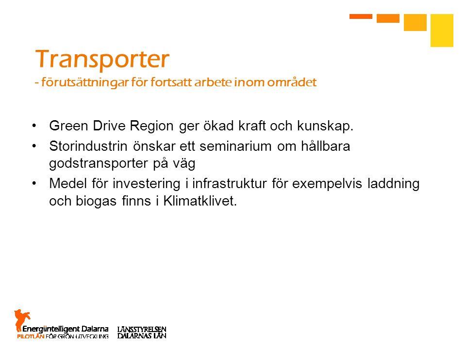 Transporter - förutsättningar för fortsatt arbete inom området Green Drive Region ger ökad kraft och kunskap. Storindustrin önskar ett seminarium om h