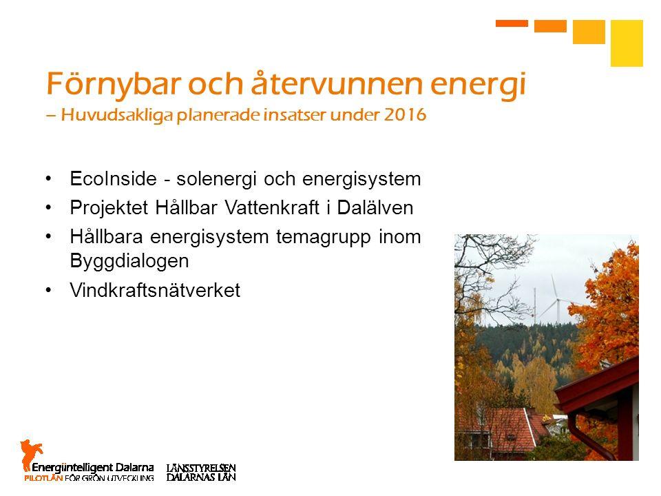 Förnybar och återvunnen energi – Huvudsakliga planerade insatser under 2016 EcoInside - solenergi och energisystem Projektet Hållbar Vattenkraft i Dal