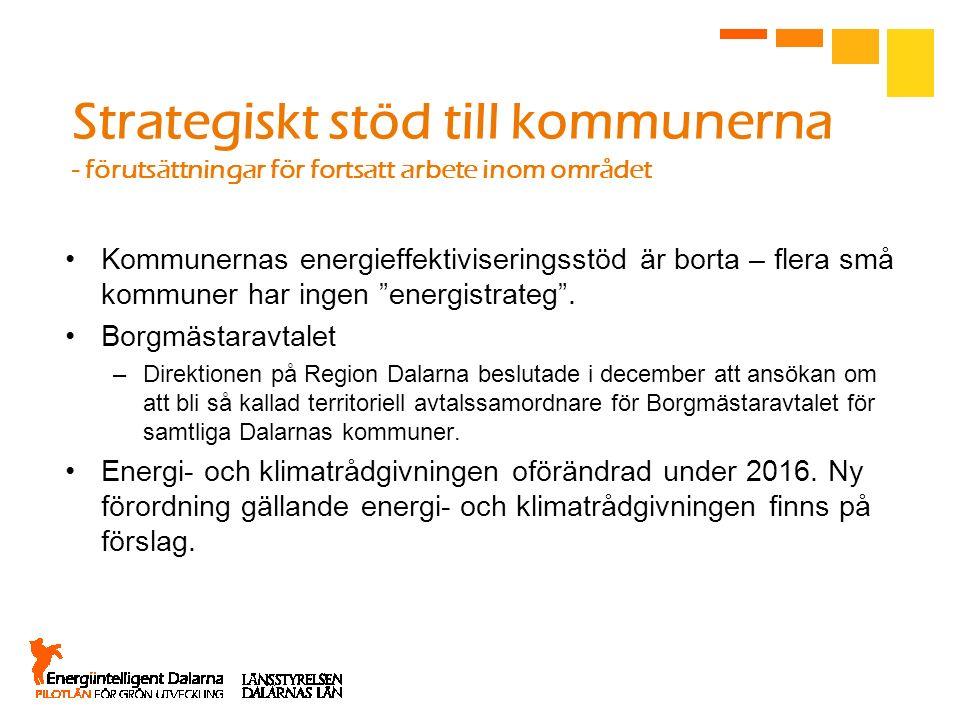 Strategiskt stöd till kommunerna - förutsättningar för fortsatt arbete inom området Kommunernas energieffektiviseringsstöd är borta – flera små kommun