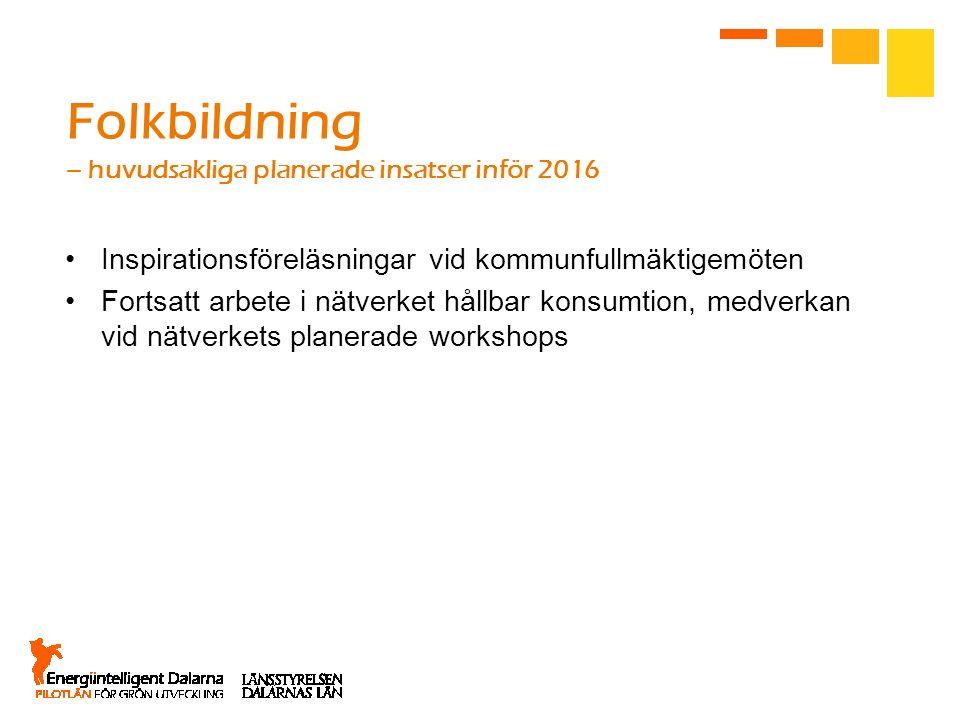 Folkbildning – huvudsakliga planerade insatser inför 2016 Inspirationsföreläsningar vid kommunfullmäktigemöten Fortsatt arbete i nätverket hållbar kon