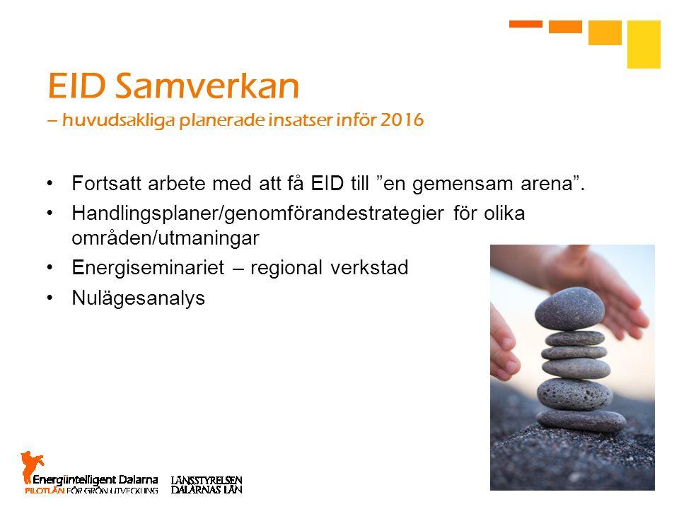 """EID Samverkan – huvudsakliga planerade insatser inför 2016 Fortsatt arbete med att få EID till """"en gemensam arena"""". Handlingsplaner/genomförandestrate"""
