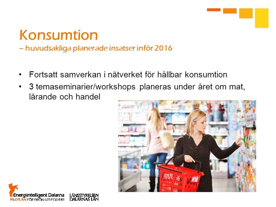 Konsumtion – huvudsakliga planerade insatser inför 2016 Fortsatt samverkan i nätverket för hållbar konsumtion 3 temaseminarier/workshops planeras unde