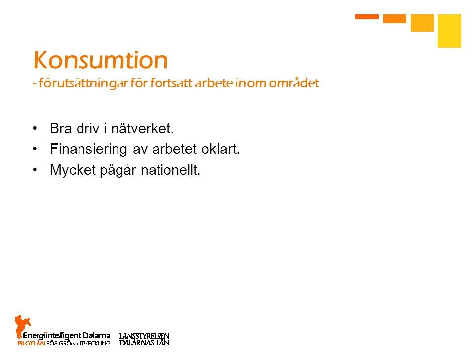 Konsumtion - förutsättningar för fortsatt arbete inom området Bra driv i nätverket. Finansiering av arbetet oklart. Mycket pågår nationellt.