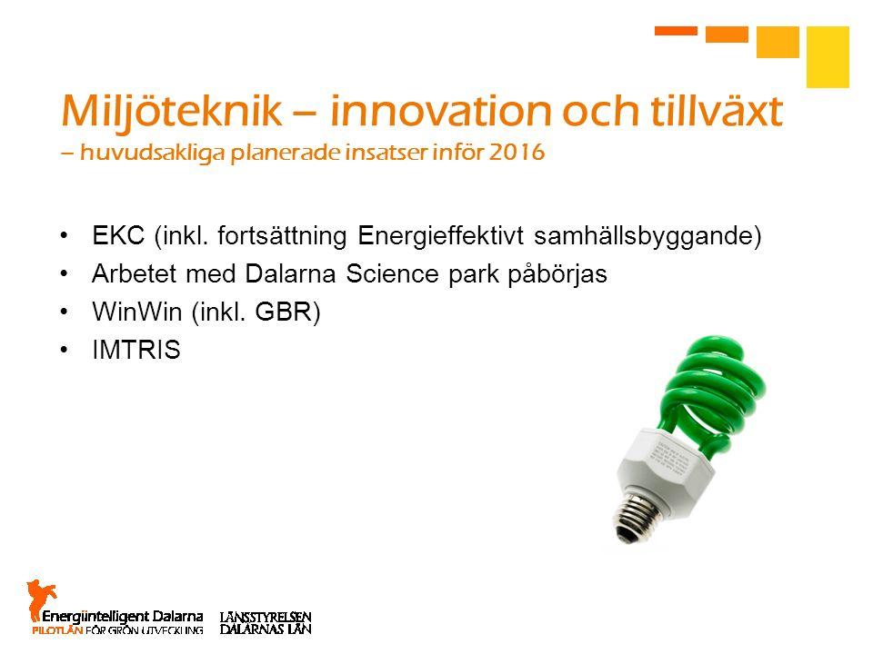 Miljöteknik – innovation och tillväxt – huvudsakliga planerade insatser inför 2016 EKC (inkl. fortsättning Energieffektivt samhällsbyggande) Arbetet m