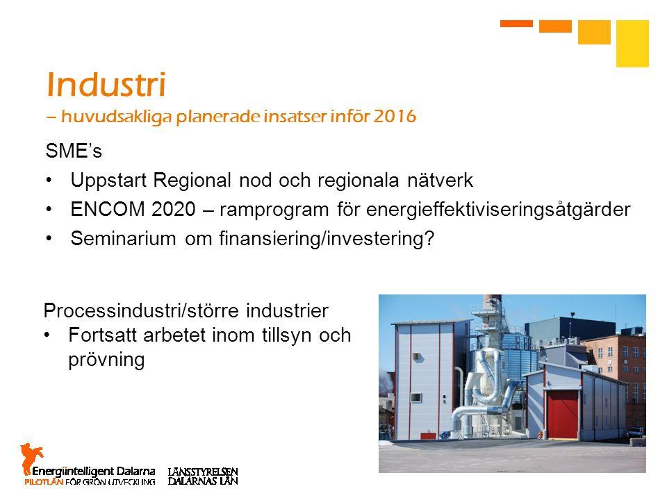 Industri – huvudsakliga planerade insatser inför 2016 SME's Uppstart Regional nod och regionala nätverk ENCOM 2020 – ramprogram för energieffektiviser